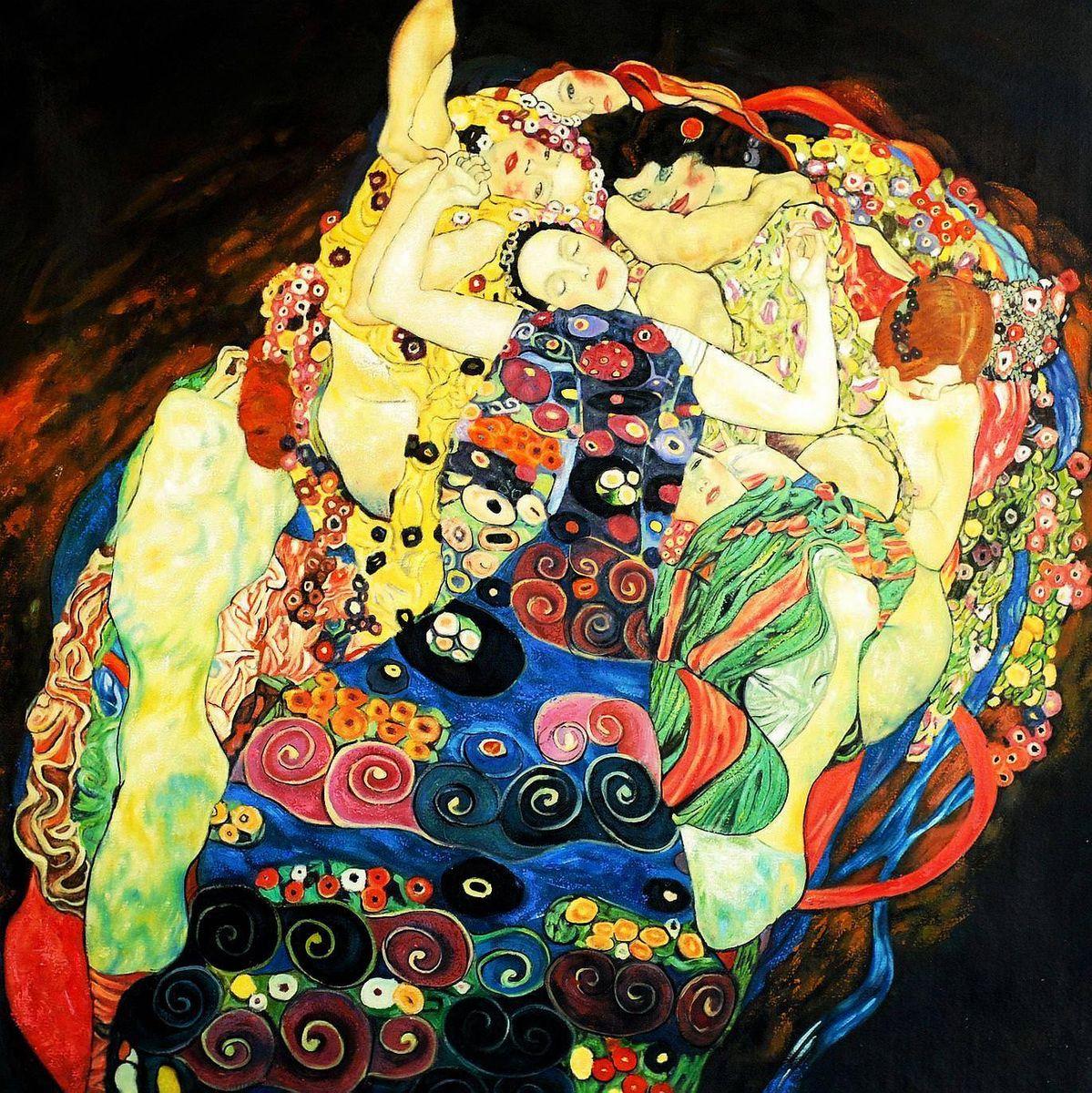 Gustav Klimt - Jungfrauen m93857 120x120cm Jugendstil Ölgemälde handgemalt