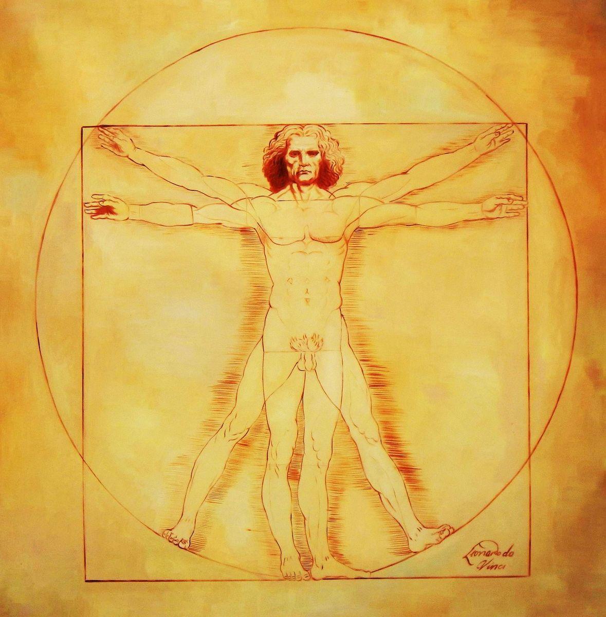 Leonardo da Vinci - Proportionsstudie m94085 120x120cm handgemaltes Ölgemälde