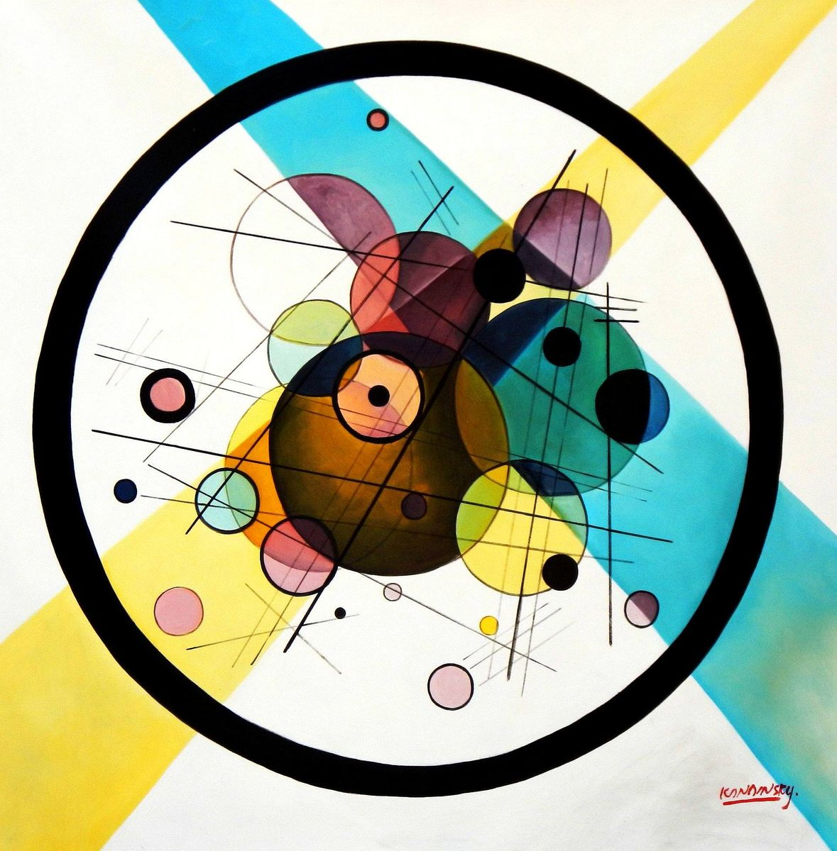 Homage to Kandinsky - Variation der Querlinie m94088 120x120cm exquisites Gemälde