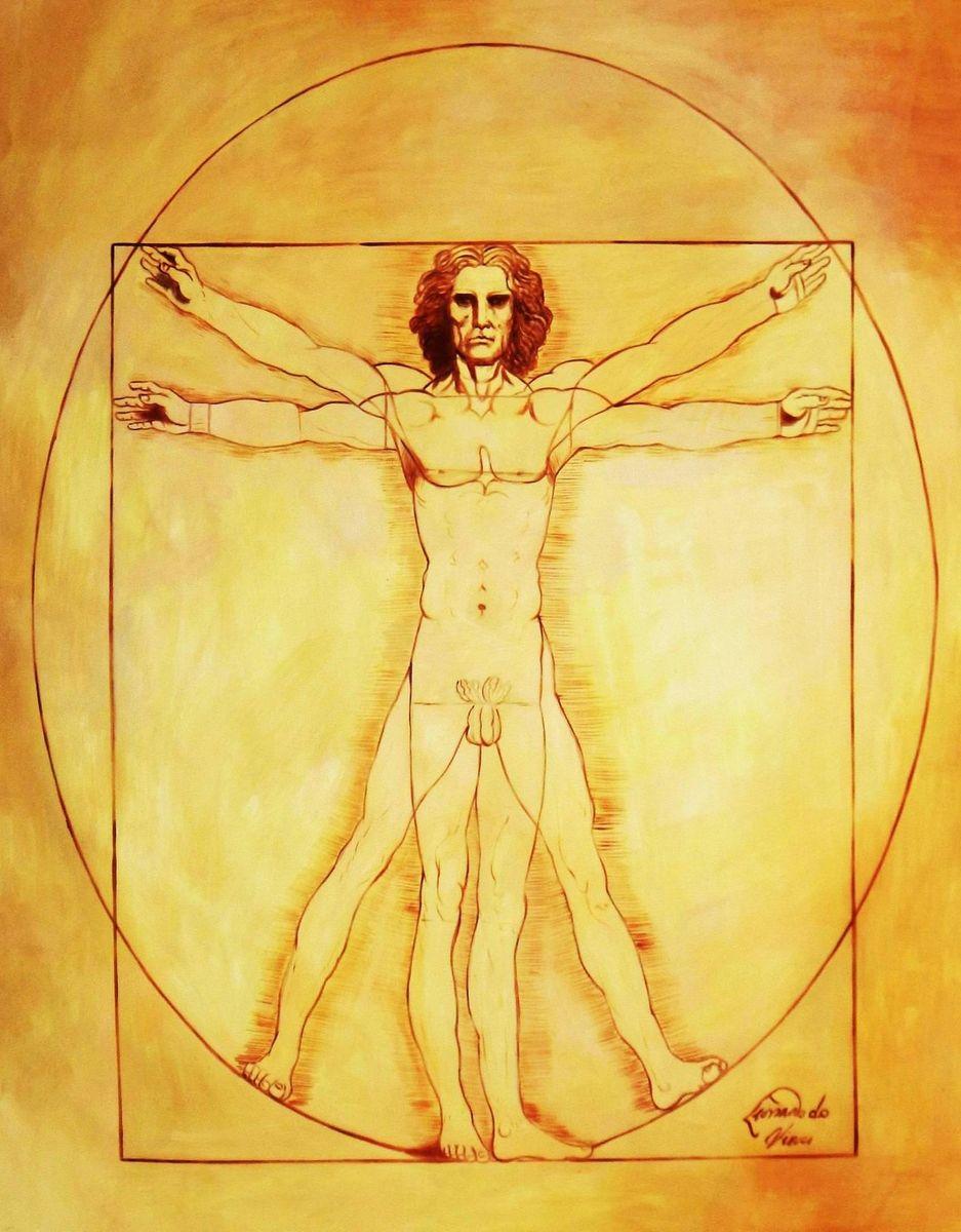 Leonardo da Vinci - Proportionsstudie x94125 120x150cm handgemaltes Ölgemälde