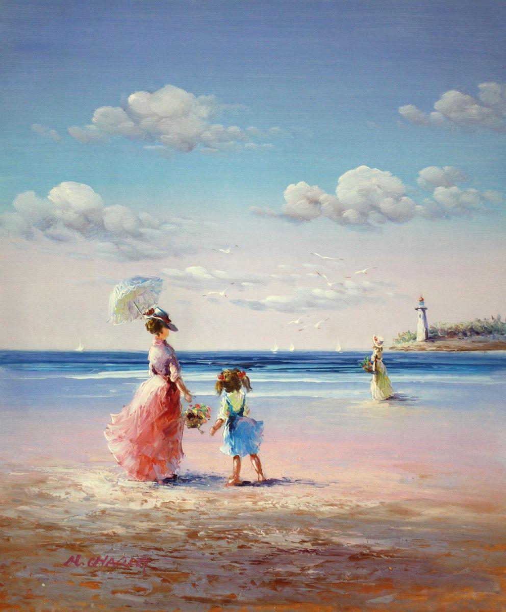 Sylt - Spaziergang am Strand c94351 50x60cm exzellentes Gemälde