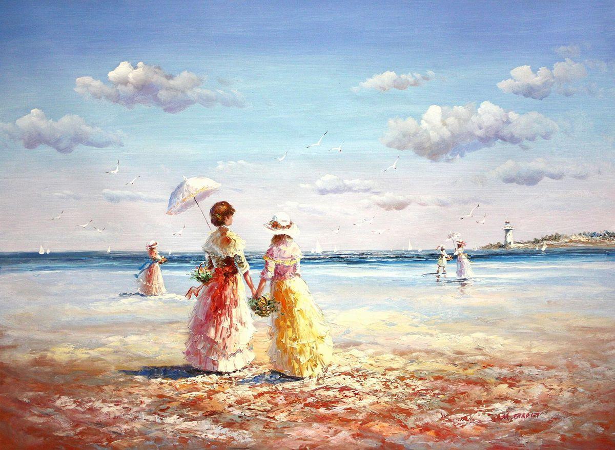 Sylt - Spaziergang am Strand k94332 90x120cm exzellentes Gemälde