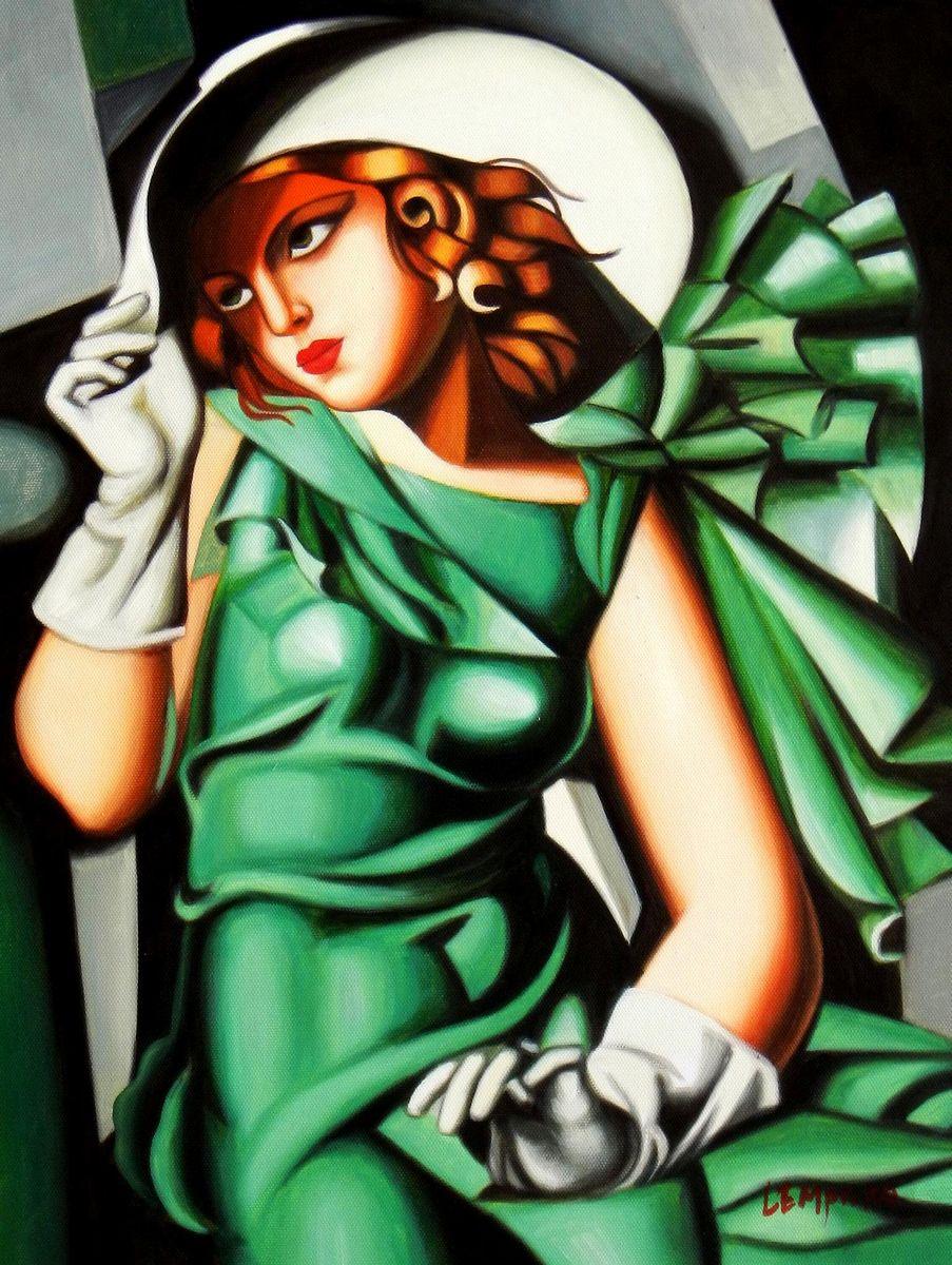 Homage to T. de Lempicka - Mädchen in Grün mit Handschuhen a94131 30x40cm Ölbild