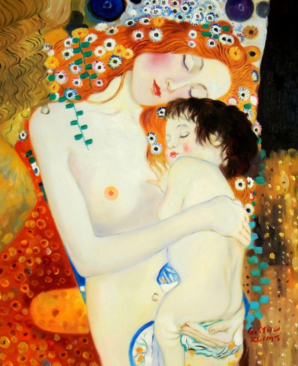 Gustav Klimt - Mutter mit Kind b94159 40x50cm Jugendstil Ölgemälde handgemalt