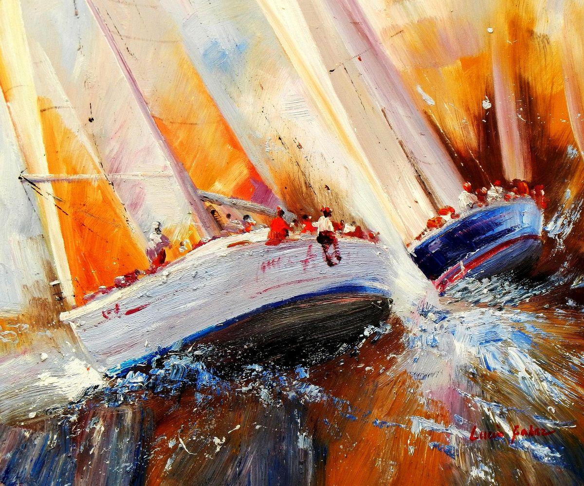 Modern Art - Segelregatta vor Helgoland c94199 50x60cm Ölbild handgemalt