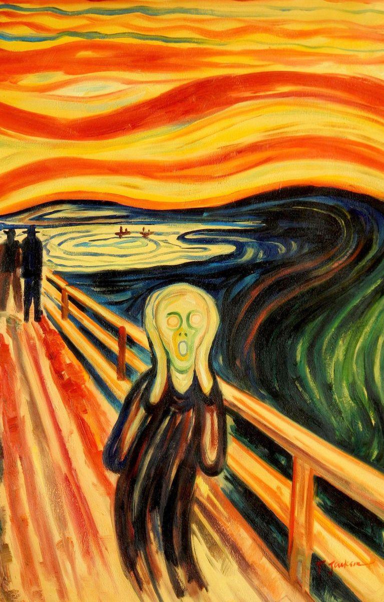 Edvard Munch - Der Schrei d94231 60x90cm handgemaltes Ölgemälde