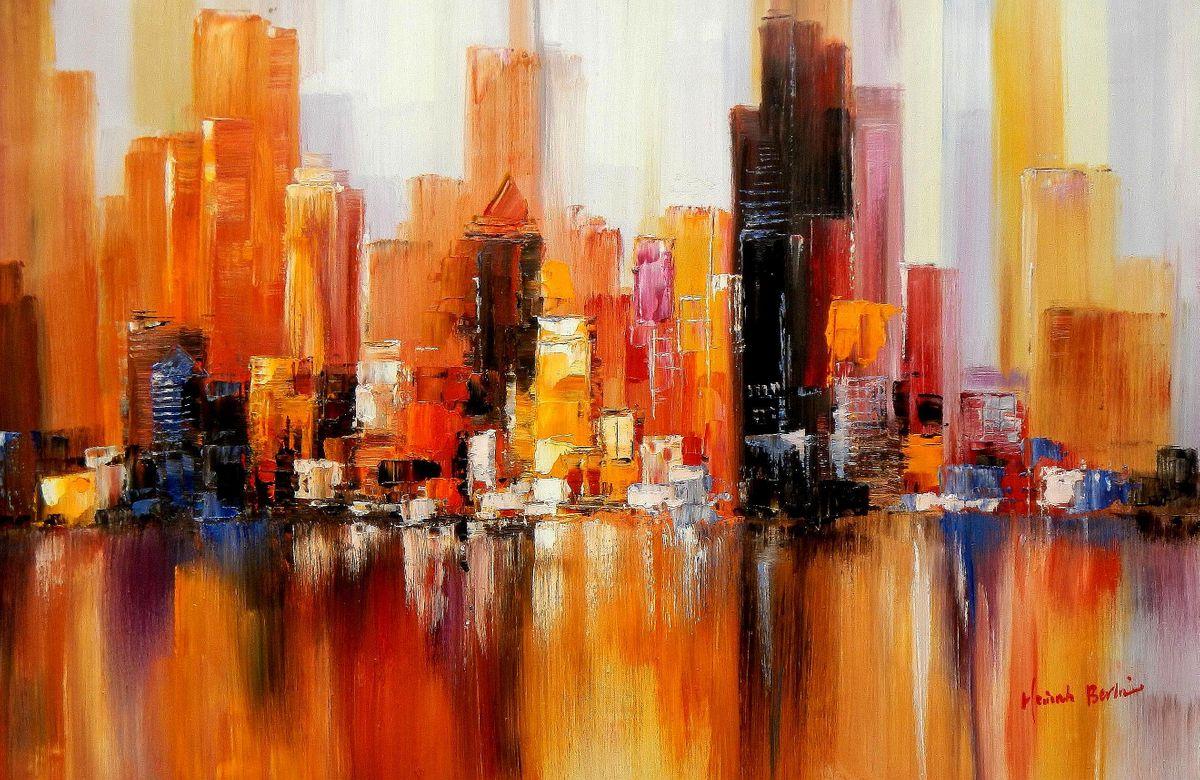 Abstrakt - New York  Downtown 2057 im Herbst d94260 60x90cm Ölgemälde handgemalt