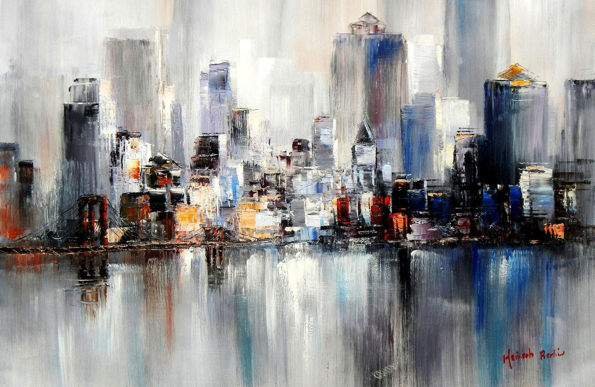 Abstrakt New York Manhattan Skyline im Winter d94267 60x90cm Gemälde handgemalt