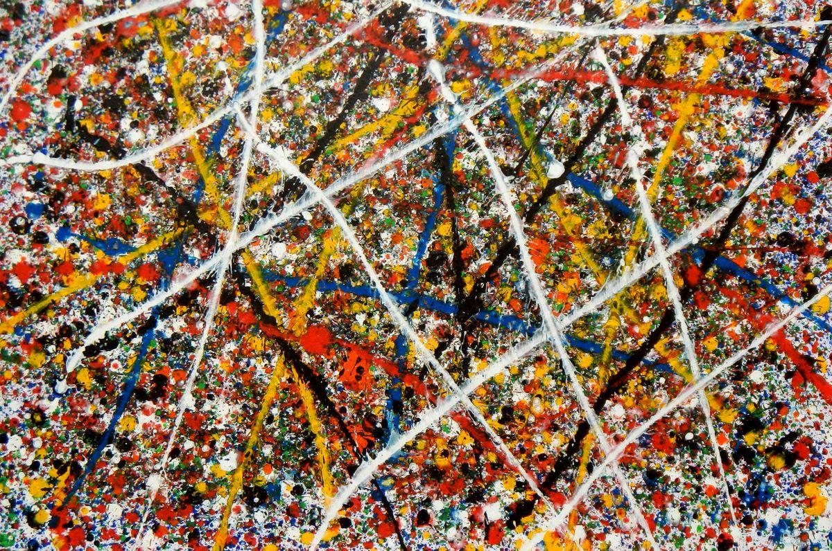 Homage of Pollock - Number 5 d94283 60x90cm abstraktes Ölgemälde handgemalt