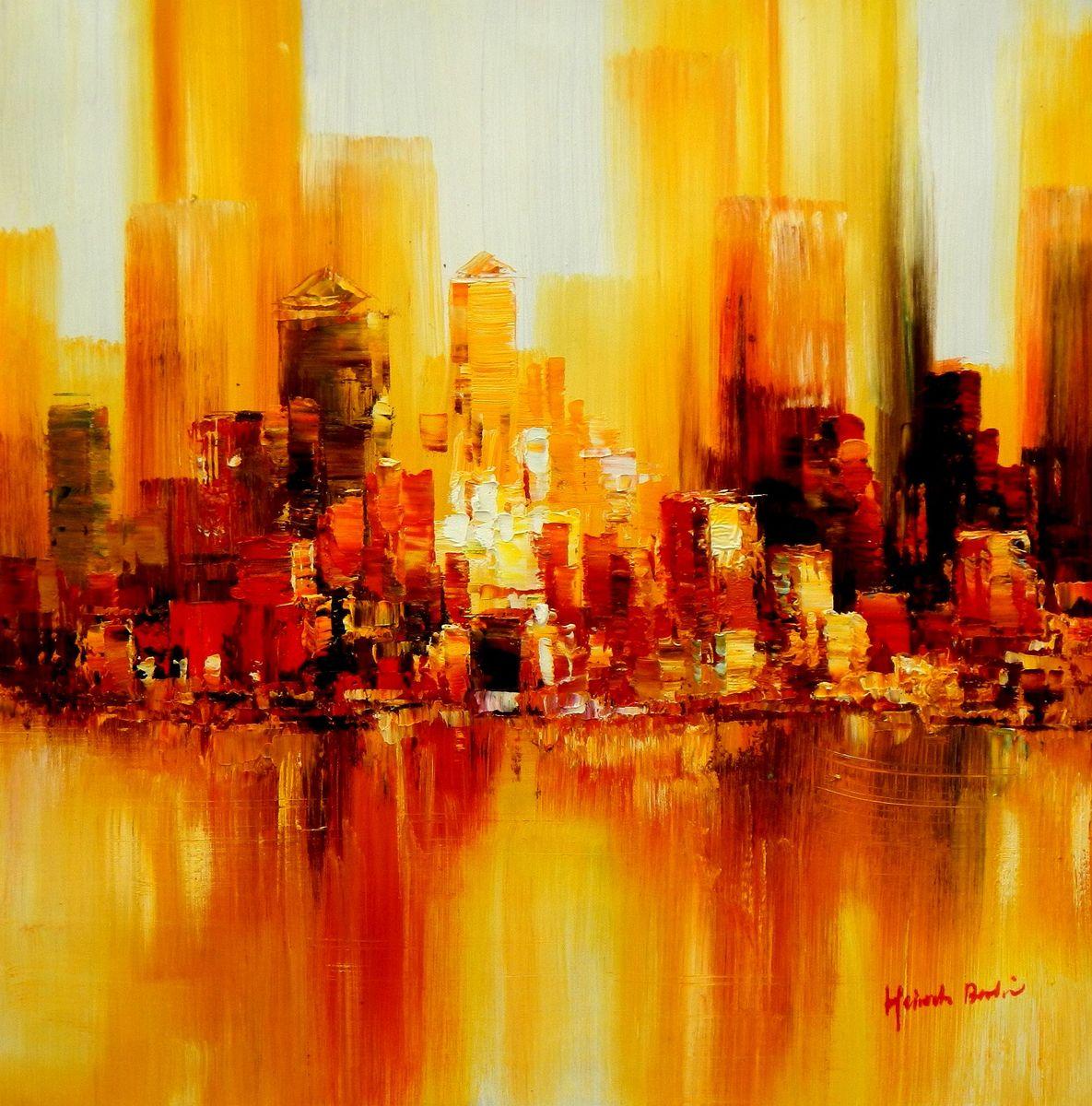 Abstrakt - New York Skyline am Abend e94292 60x60cm beeindruckendes Ölbild