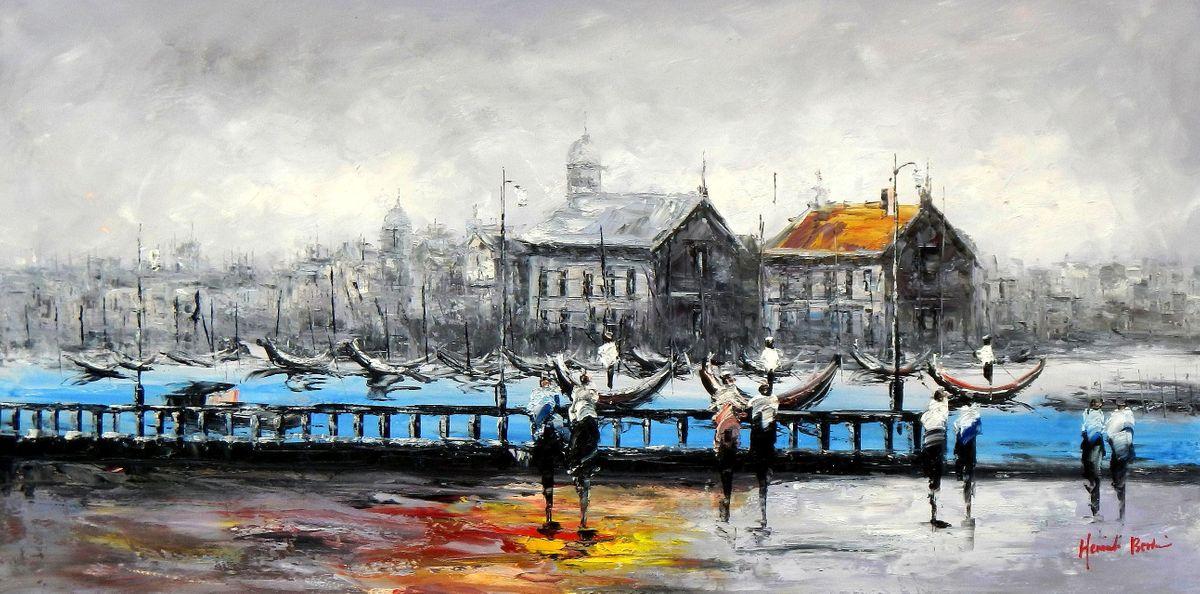 Modern Art - Venedig im Morgengrauen f94303 60x120cm bemerkenswertes Ölbild