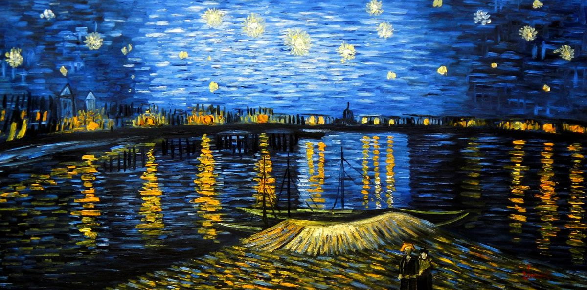 Vincent van Gogh - Sternennacht über der Rhone f94304 60x120cm exzellentes Ölgemälde handgemalt