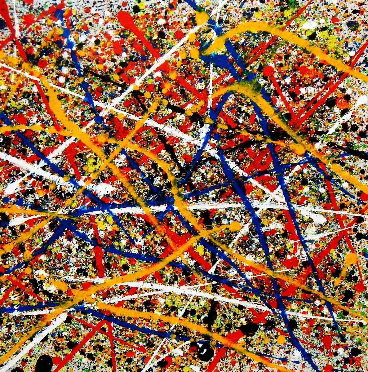 Homage of Pollock - Number 12 g94324 80x80cm abstraktes Ölgemälde handgemalt