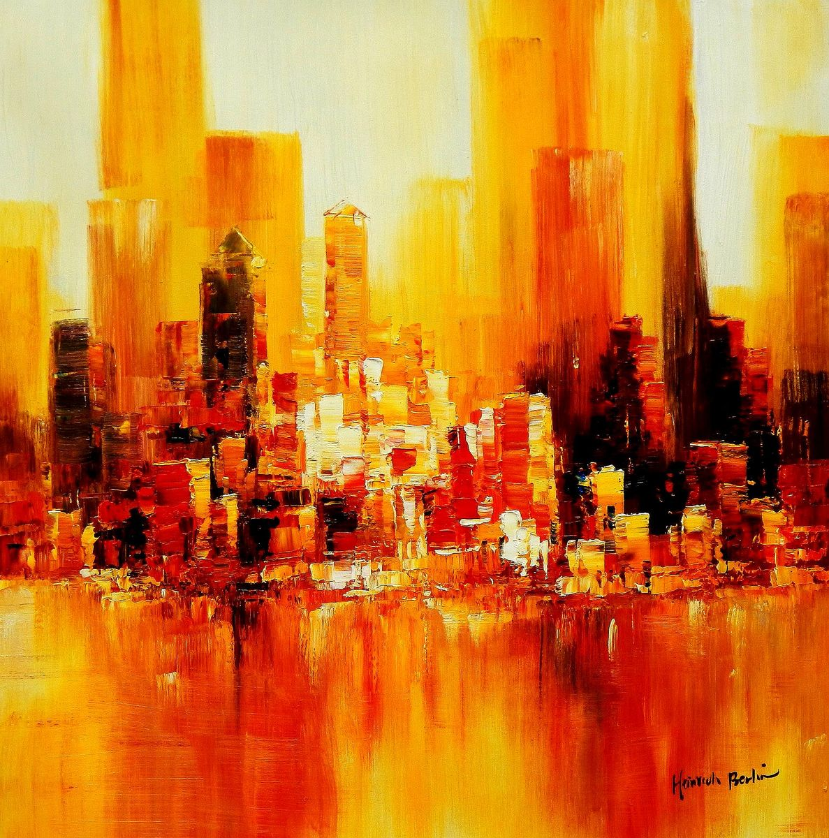 Abstrakt New York Manhattan Skyline im Herbst g94380 80x80cm abstraktes Ölbild