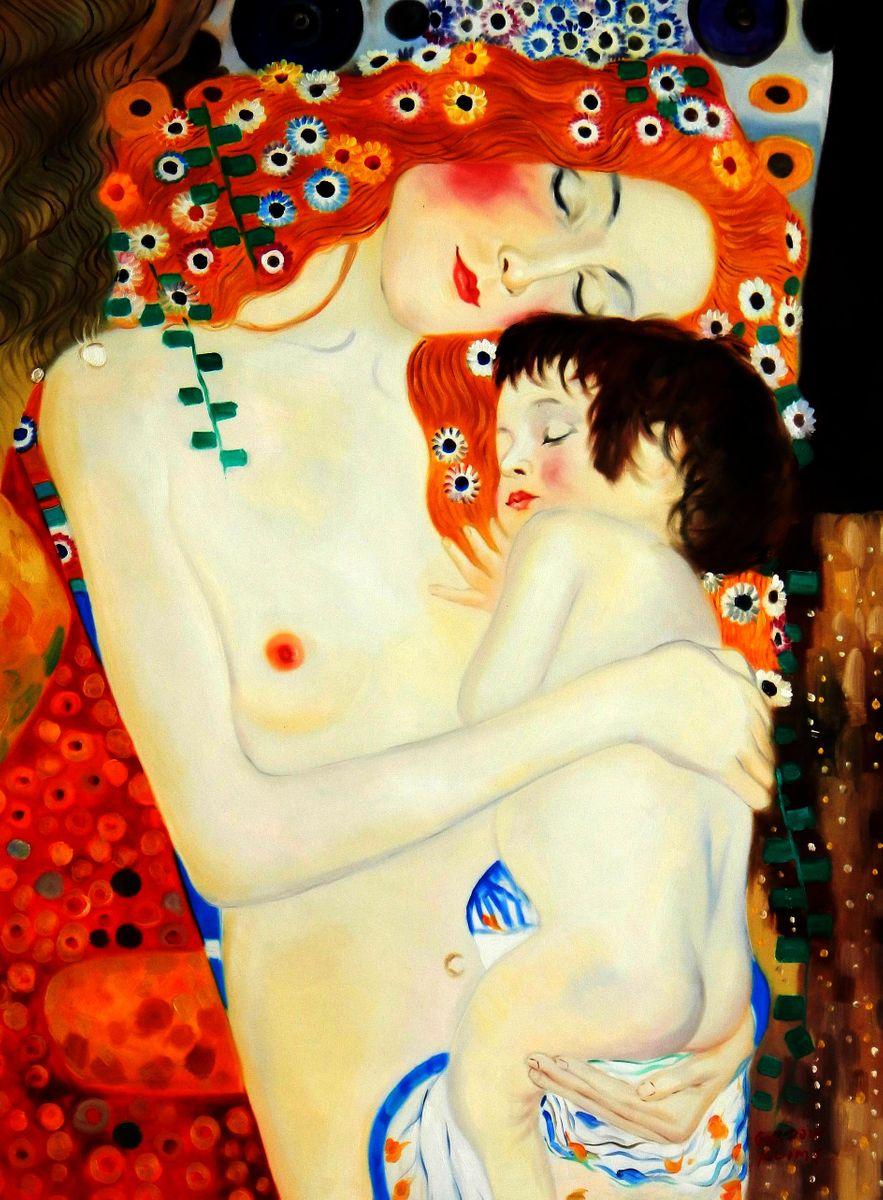 Gustav Klimt - Mutter mit Kind i94411 80x110cm Jugendstil Ölgemälde handgemalt