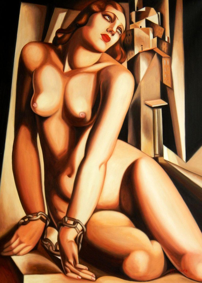 Homage to Tamara de Lempicka - Andromeda i94412 80x110cm handgemaltes Gemälde Art Deco