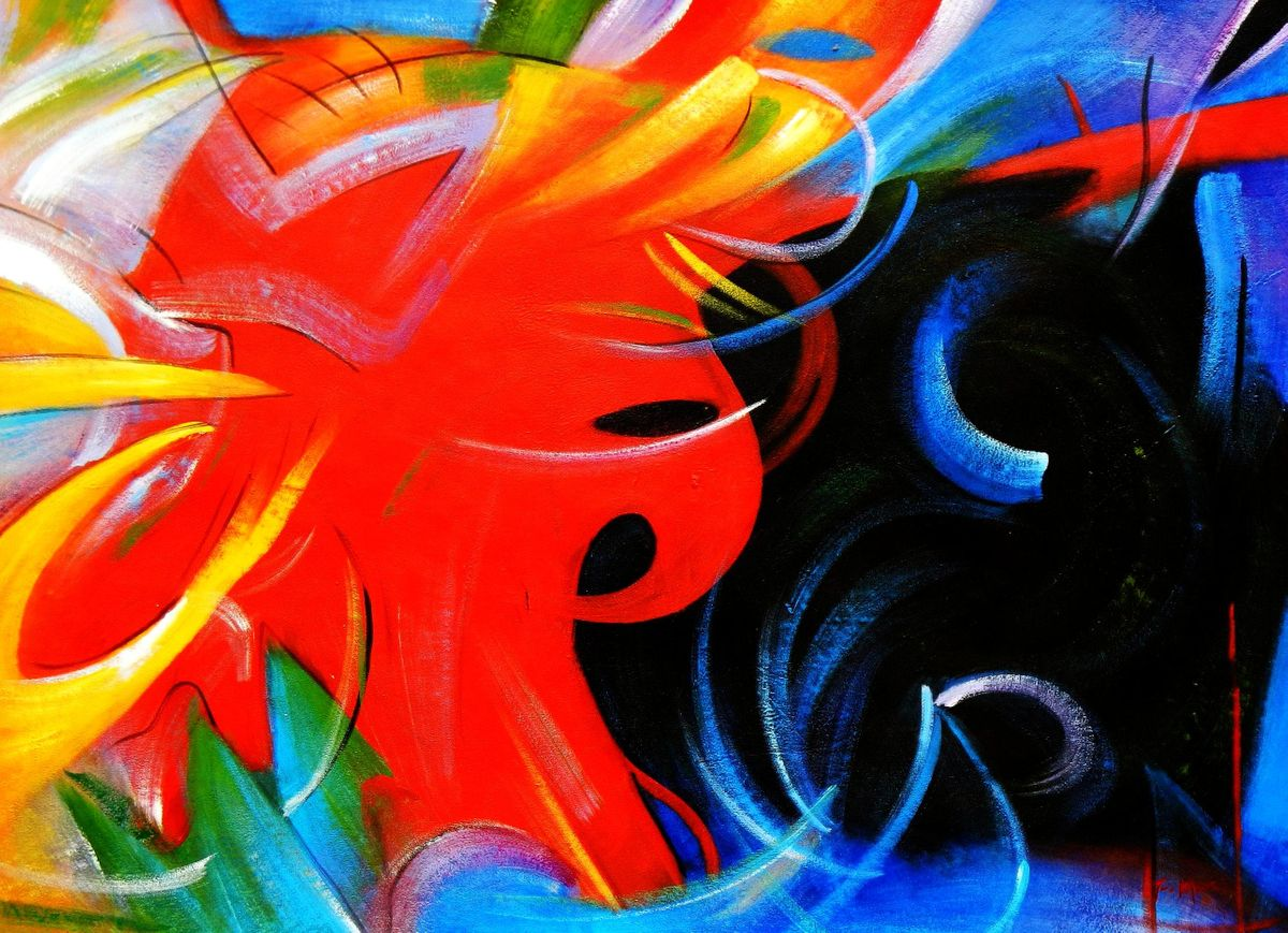 Franz Marc - Fighting Forms i94436 80x110cm Expressionismus Ölgemälde