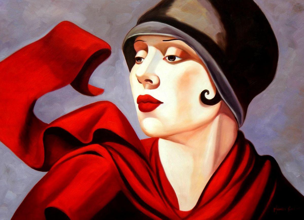 Homage of T. de Lempicka - Frau mit rotem Schal i94440 80x110cm exzellentes Ölbild