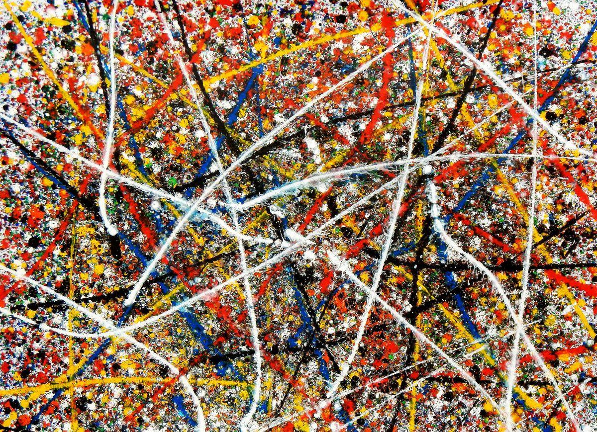 Homage of Pollock - Number 1 i94444 80x110cm abstraktes Ölgemälde handgemalt