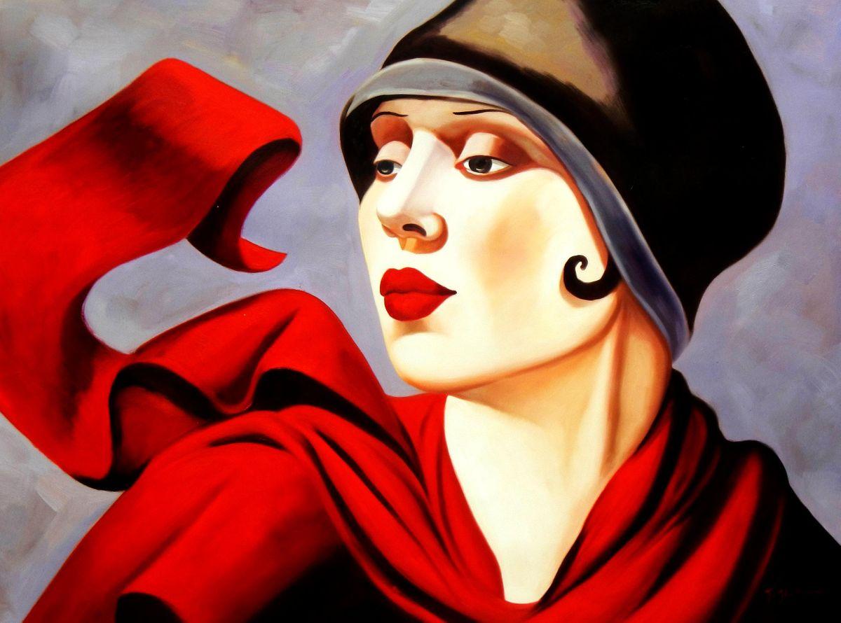 Homage of T. de Lempicka - Frau mit rotem Schal k94460 90x120cm exzellentes Ölbild