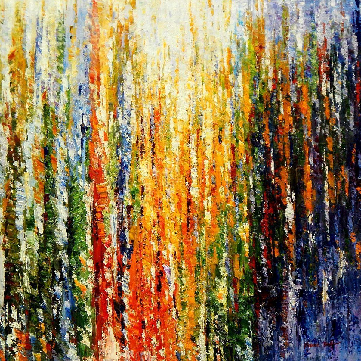 Abstrakt - Durch den Monsun m94474 120x120cm exquisites Ölbild handgemalt
