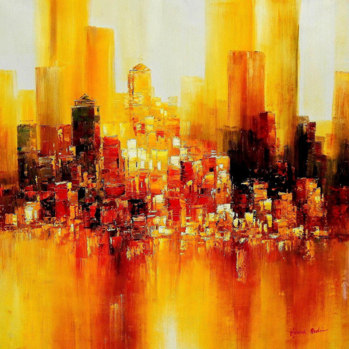 Abstrakt New York Manhattan Skyline im Herbst m94476 120x120cm abstraktes Ölbild