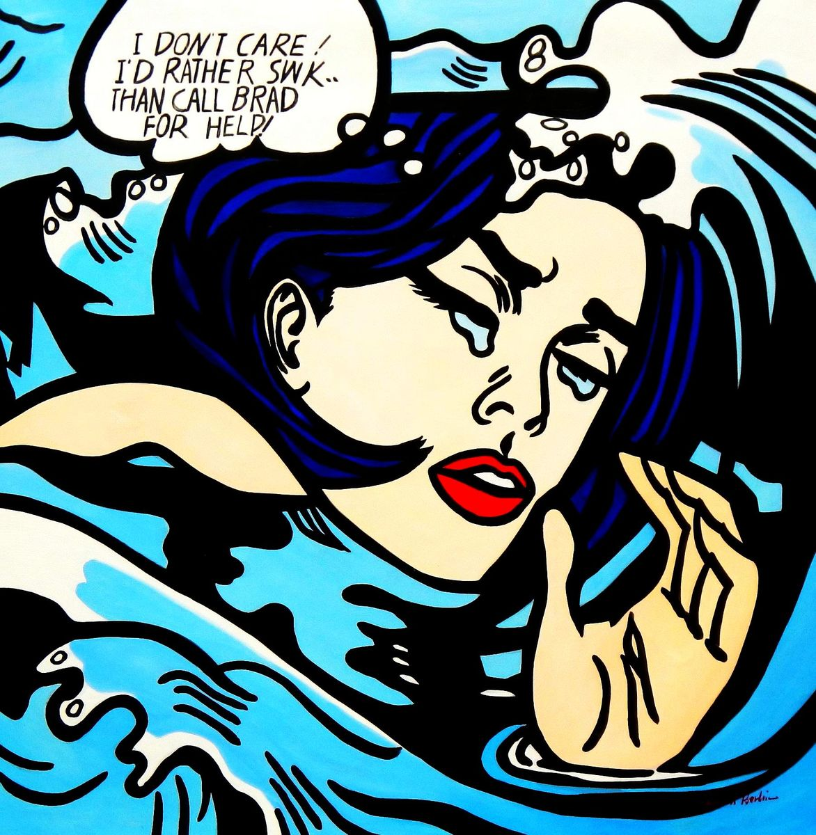 Homage to Roy Lichtenstein -  Do not care Pop Art m94481 120x120cm exquisites Ölbild handgemalt