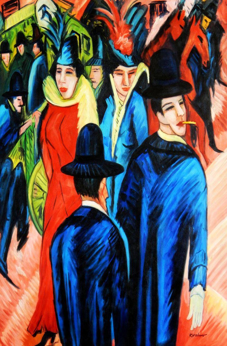 Ernst Ludwig Kirchner - Berliner Straßenszene p94495 120x180cm exquisites Ölbild
