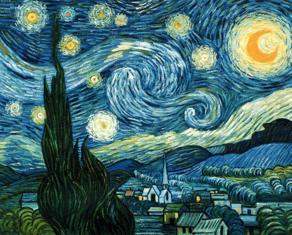 Vincent van Gogh - Sternennacht b94750 G 40x50cm exzellentes Ölgemälde handgemalt Museumsqualität