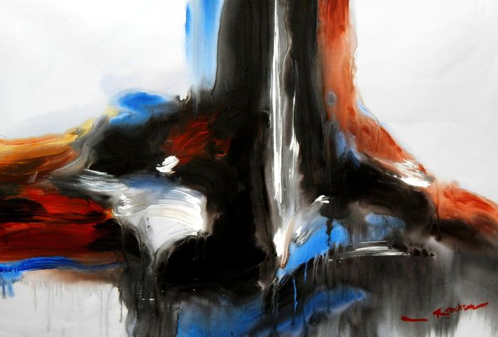 Abstract -  Tower of colors d94609 60x90cm abstraktes Ölbild handgemalt