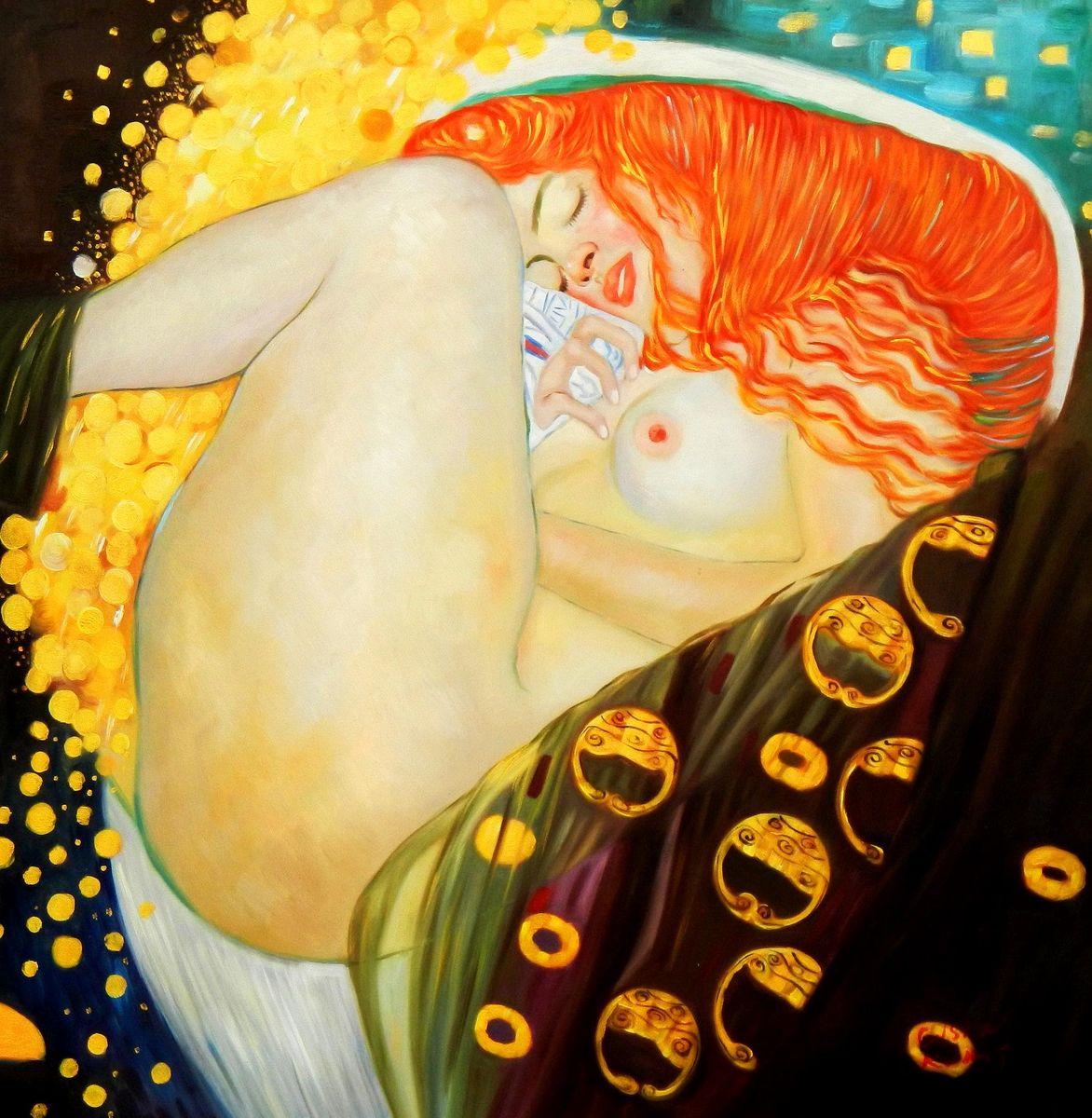 Gustav Klimt - Danae g94646 80x80cm exquisites Ölgemälde