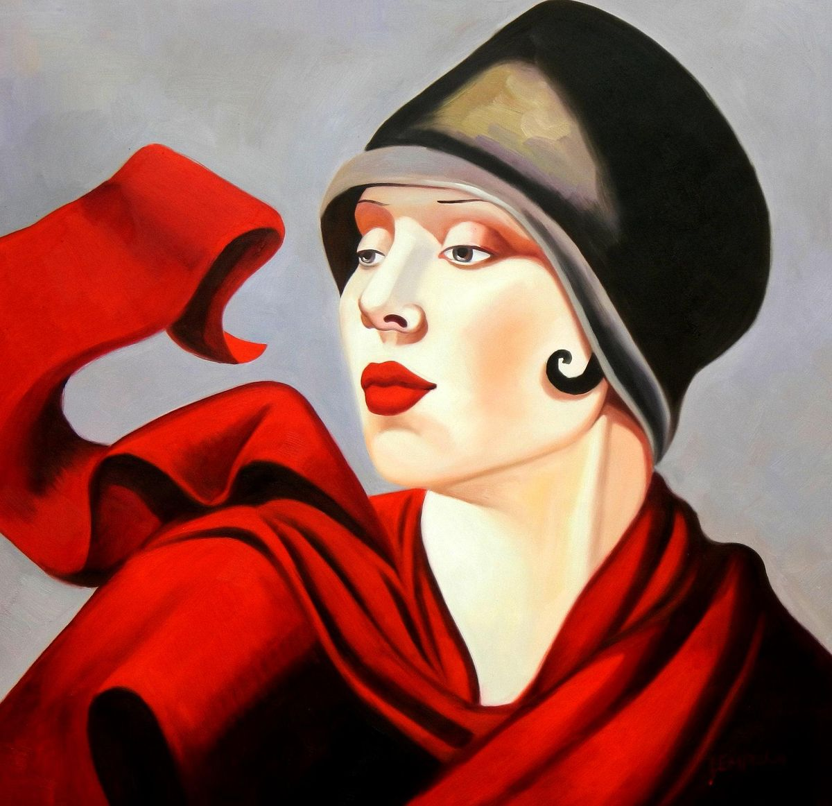 Homage of T. de Lempicka - Frau mit rotem Schal g94652 80x80cm exzellentes Ölbild