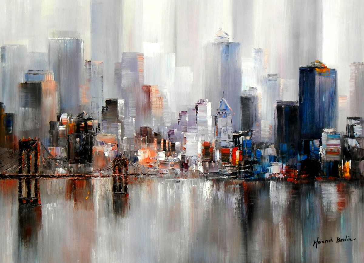 Abstrakt New York Manhattan Skyline im Winter II i94689 80x110cm Gemälde handgemalt