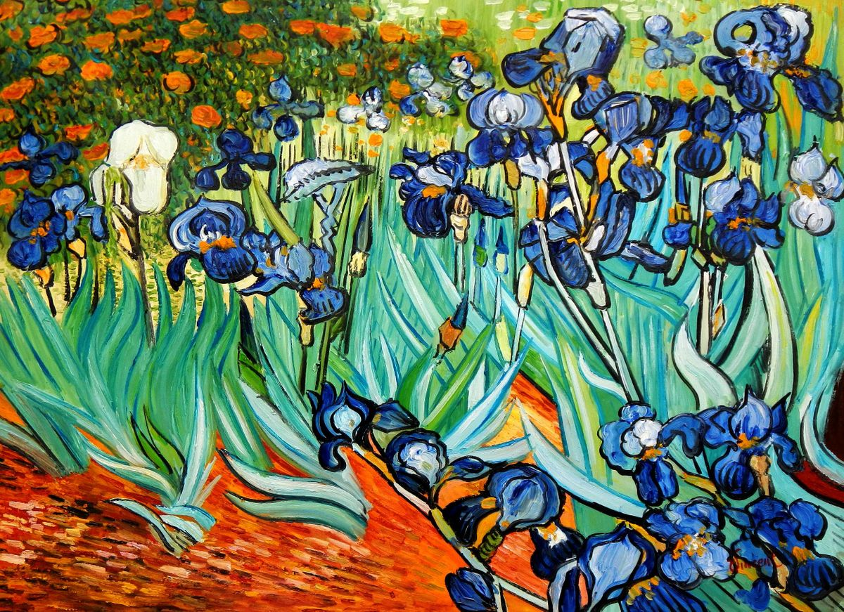 Vincent van Gogh - Blaue Iris i94699 G 80x110cm exzellentes Ölgemälde handgemalt