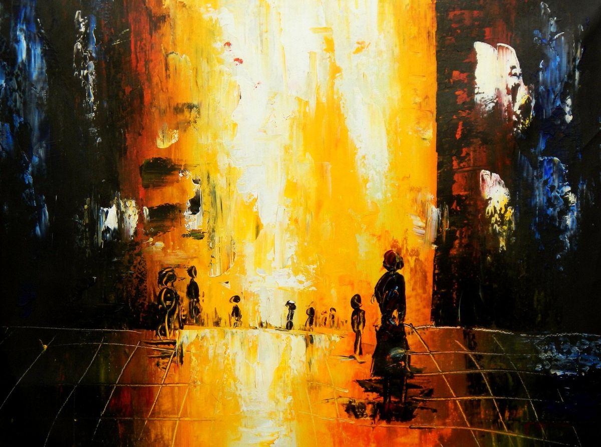 Abstrakt - Berlin Galeries Lafayette k94718 90x120cm abstraktes Ölbild handgemalt