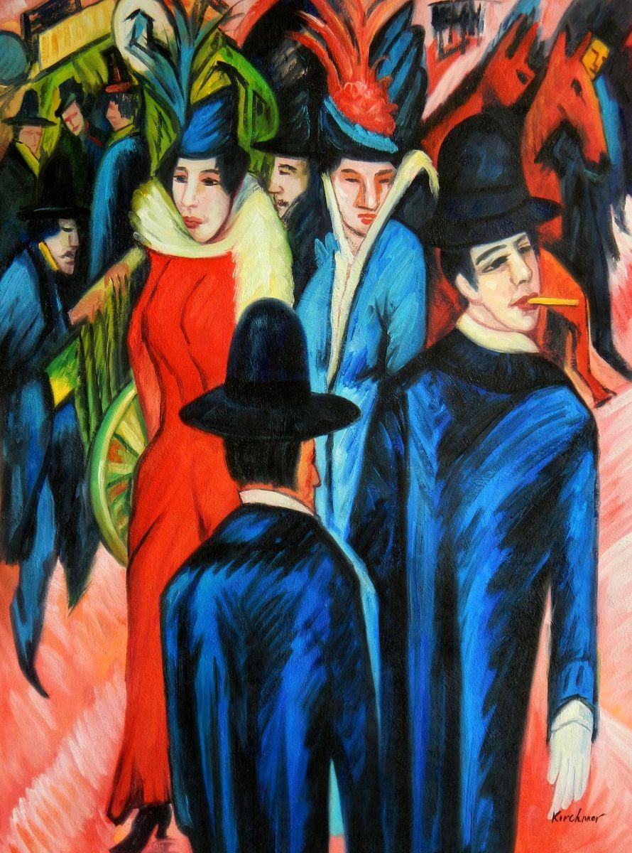Ernst Ludwig Kirchner - Berliner Straßenszene k94778 90x120cm exquisites Ölbild