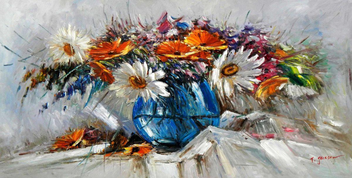 Modern Abstrakt - Vase mit bunten Blumen f94937 60x120cm abstraktes Ölbild handgemalt