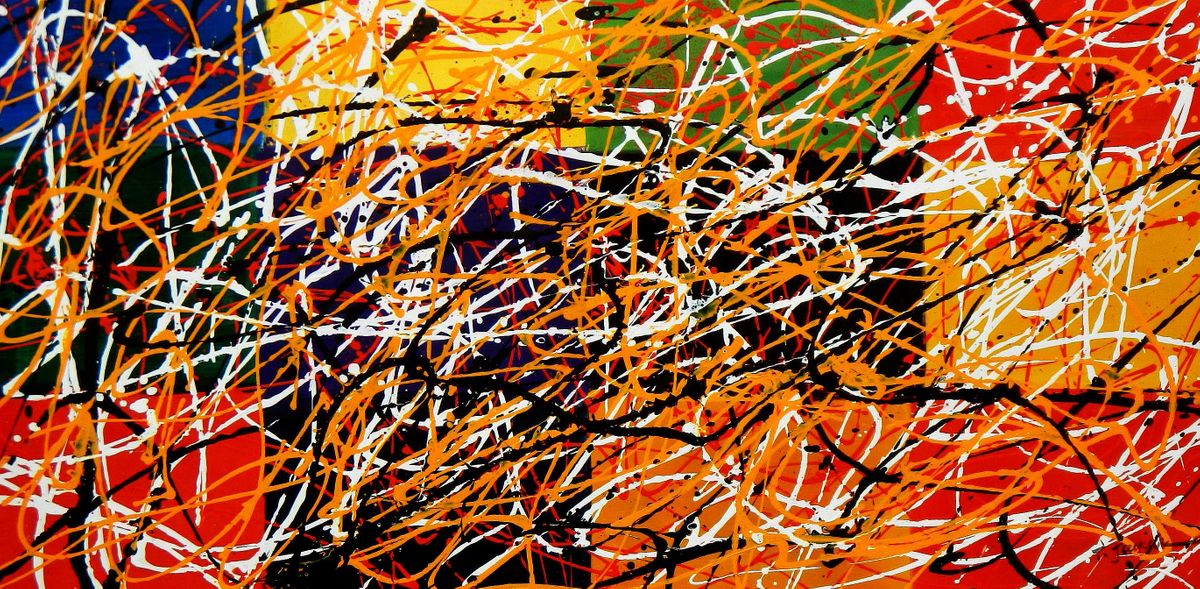 Homage of Pollock - Dripping over cubes f94941 60x120cm abstraktes Ölgemälde handgemalt