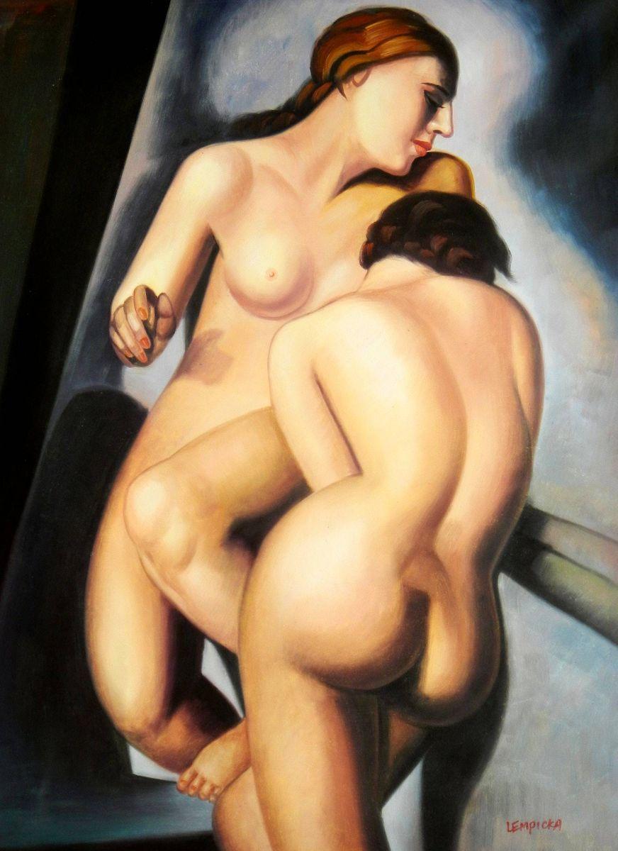 Homage of Tamara de Lempicka - Two nudes k95014 90x120cm Ölbild handgemalt
