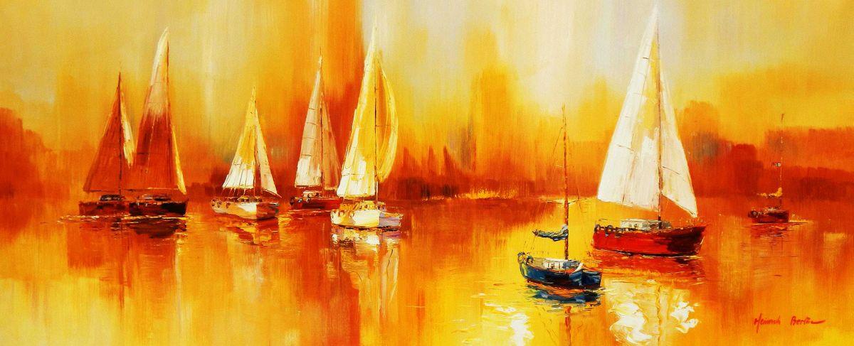 Segelboote auf dem Gardasee t95035 75x180cm modernes Gemälde handgemalt