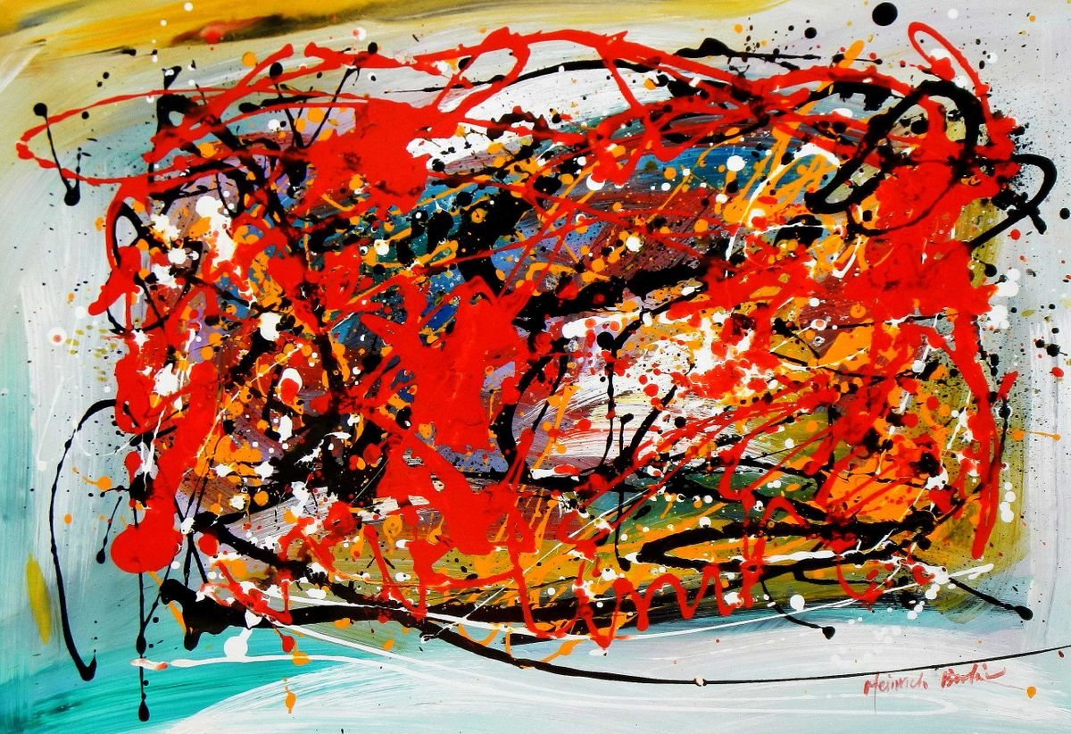 Abstract - Pollock Style Study d95153 60x90cm exquisites Gemälde