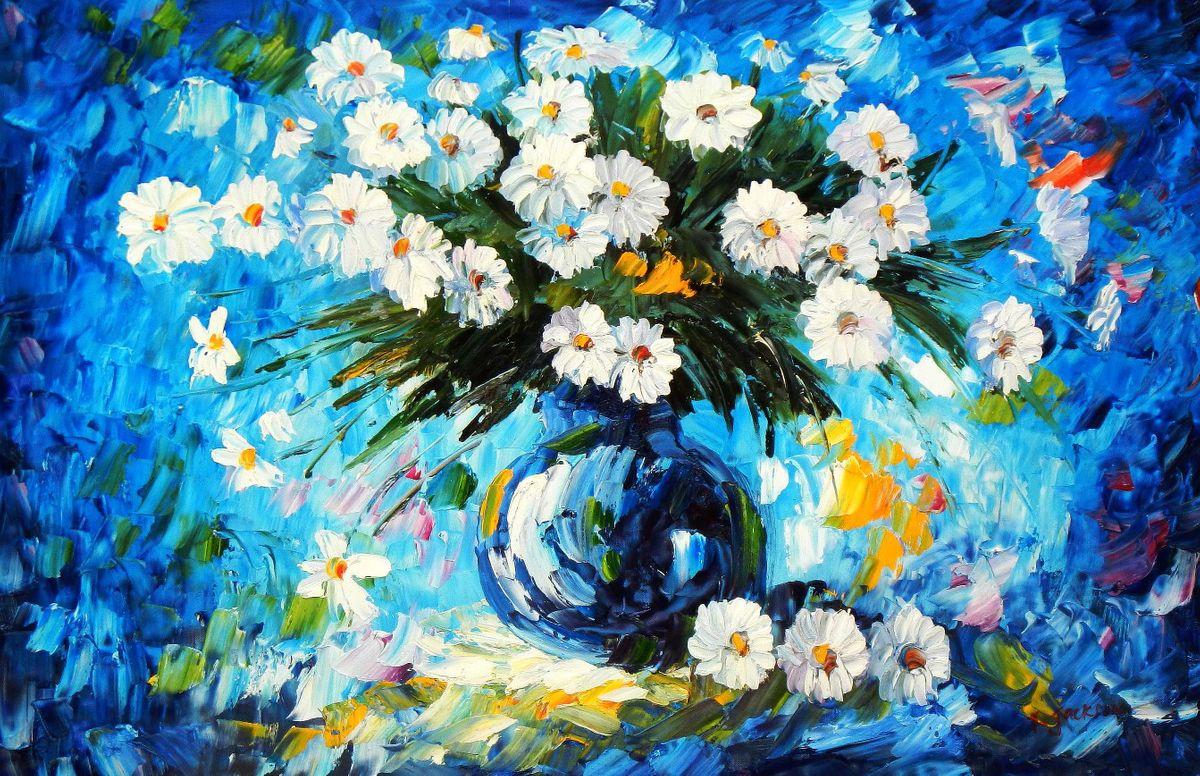 Modern Art - Stillleben mit Blumenvase d95170 60x90cm abstraktes Ölgemälde handgemalt