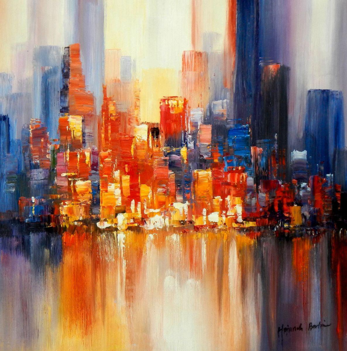 Abstrakt New York Manhattan Skyline bei Nacht g95249 80x80cm Gemälde handgemalt