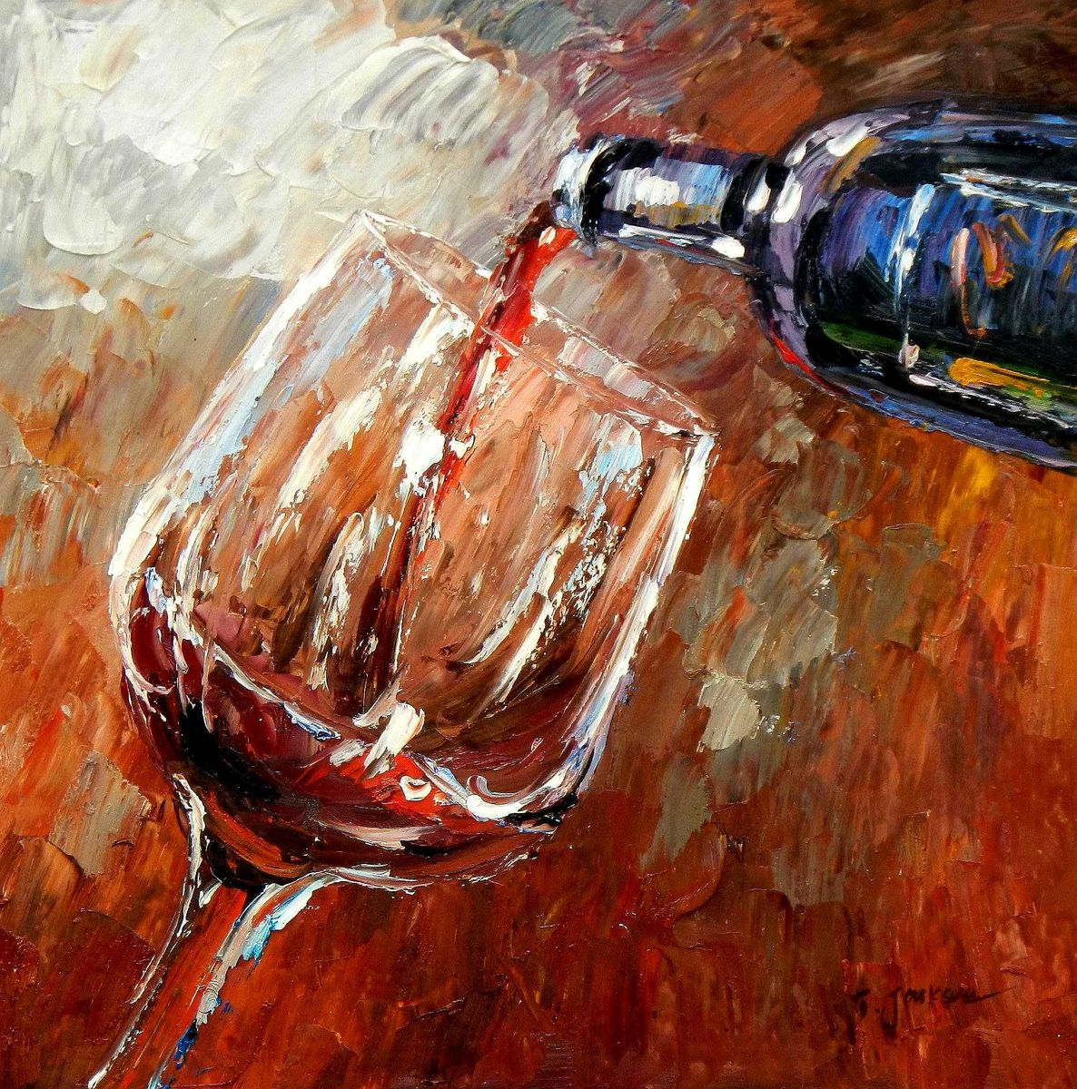 Modern Art - Winery Arts g95250 80x80cm Ölgemälde handgemalt