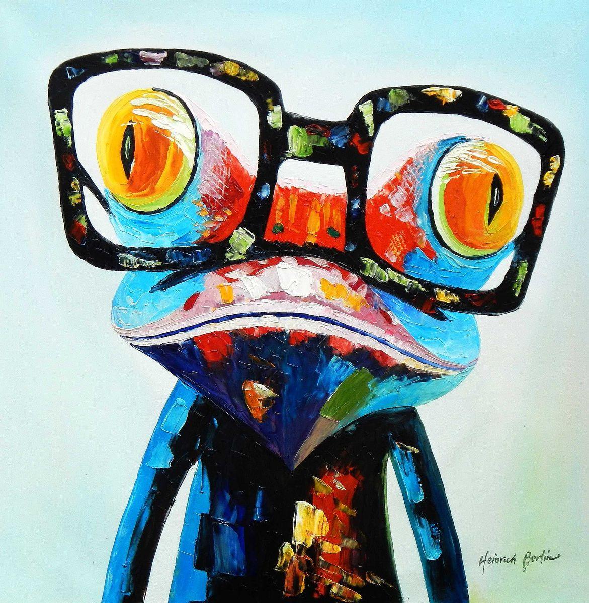 Modern Art - Woody der Frosch h95260 90x90cm fantastisches Ölbild