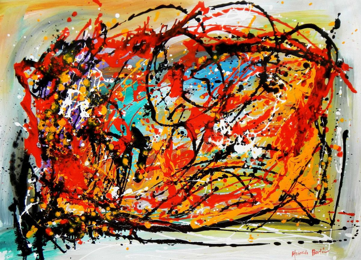 Abstract - Pollock Style Study i95279 80x110cm exquisites Gemälde