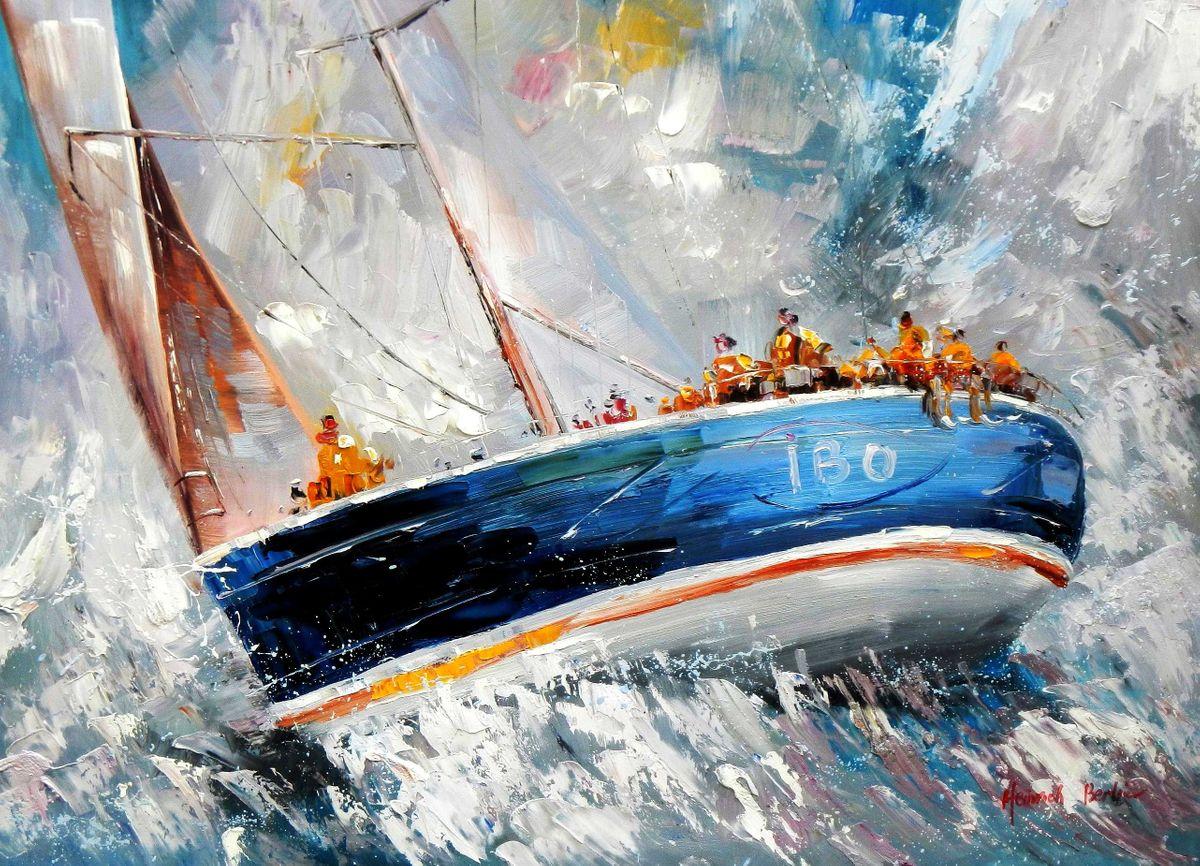Segelschiff hart am Wind i95282 80x110cm beeindruckendes Ölgemälde