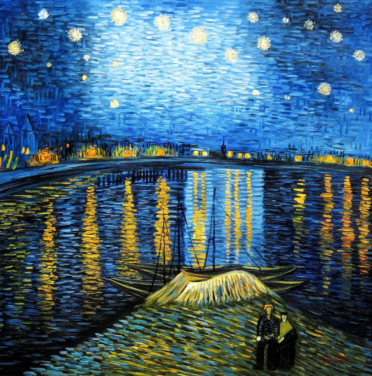 Vincent van Gogh - Sternennacht über der Rhone m95306 120x120cm exzellentes Ölgemälde handgemalt