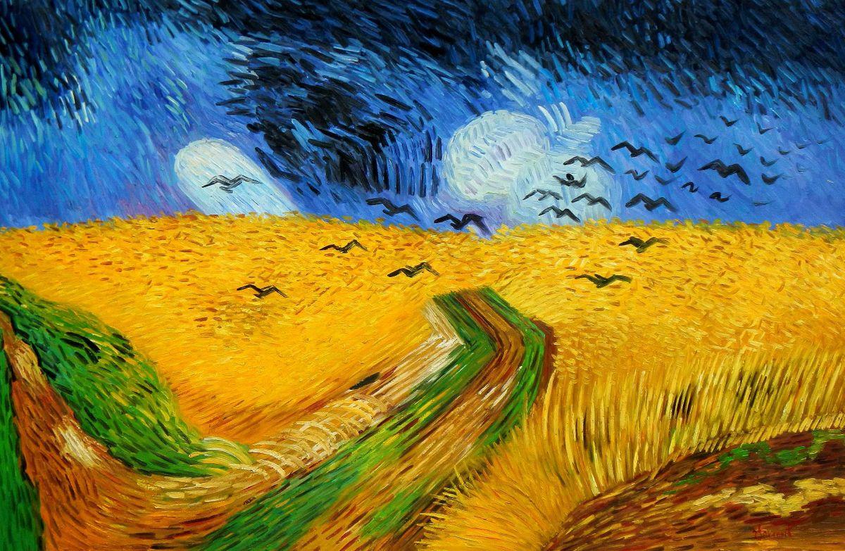 Vincent van Gogh - Kornfeld mit Krähen p95330 120x180cm Ölgemälde handgemalt