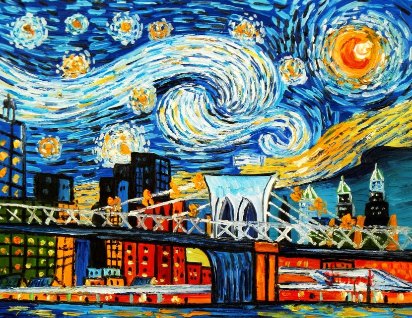 Vincent v. Gogh - Homage Sternennacht New York edition a95462 30x40cm Ölbild